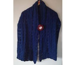 Handmade blue scarf from wool
