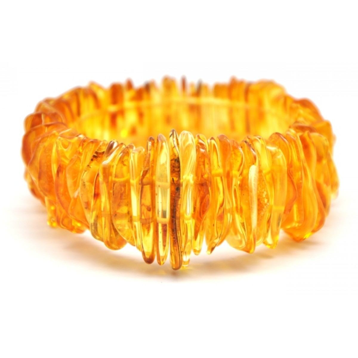 Lemon color Baltic amber elastic bracelet