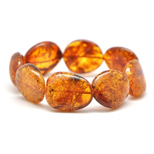 Big beads cognac Baltic amber bracelet