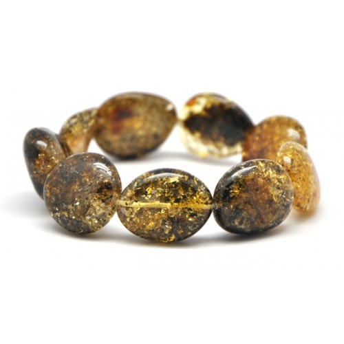 Big beads green Baltic amber bracelet