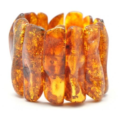Massive natural shapes Baltic amber bracelet
