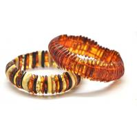 Lot of 2 Baltic amber elastic bracelets