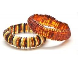 Lot of 2 Baltic amber elastic bracelets
