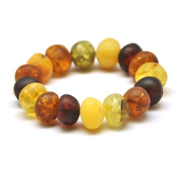 Unpolished baroque beads Baltic amber bracelet