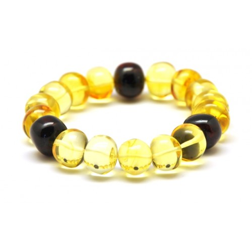 Lemon and cherry baroque beads Baltic amber bracelet