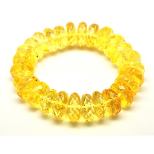 Faceted Baltic amber lemon bracelet