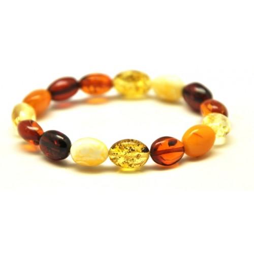 Multicolor flat olive shape Baltic amber bracelet