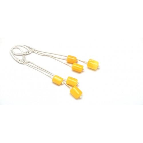 Greek style vintage Baltic amber long earrings