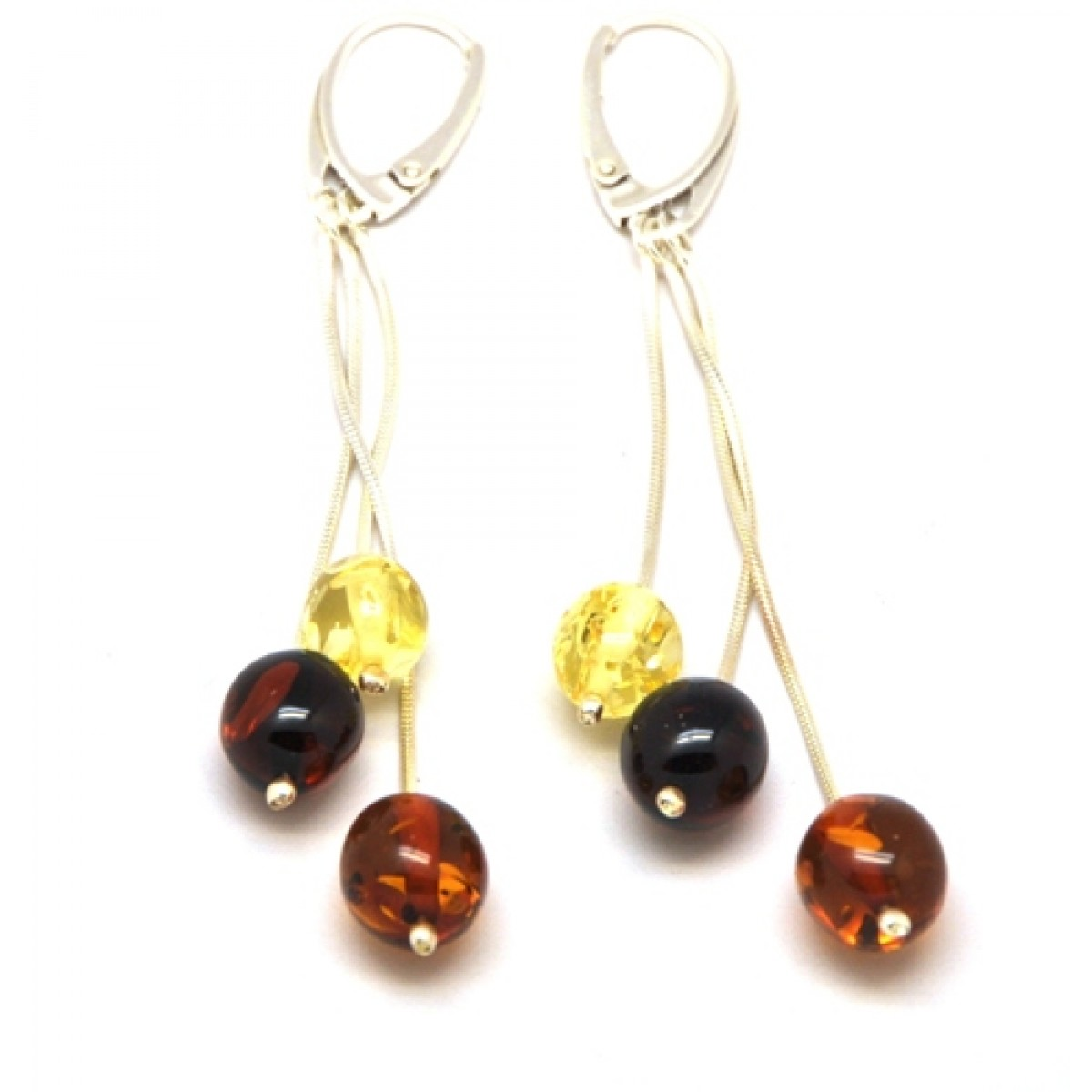 Long Baltic amber olive earrings