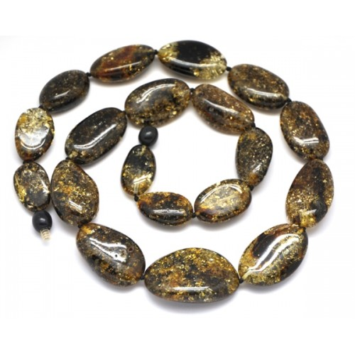 Big beads green color Baltic amber short necklace