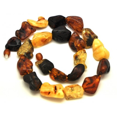 Natural shapes unpolished Baltic amber necklace