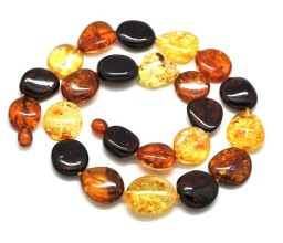 Big beads multicolor Baltic amber short necklace