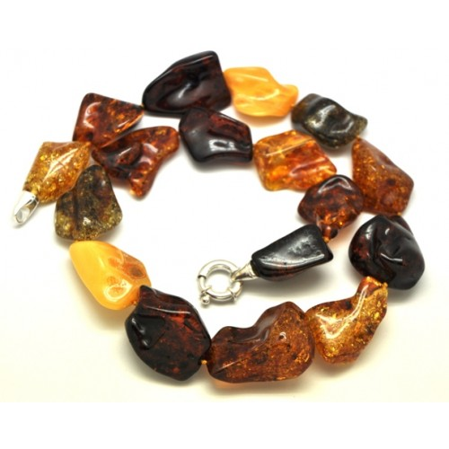 Natural shapes multicolor Baltic amber necklace