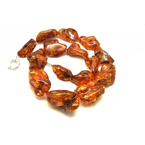 Natural shapes cognac Baltic amber necklace