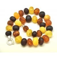Unpolished baroque beads short Baltic amber necklace