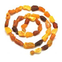 Raw multicolor Baltic amber long  necklace