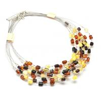Lot of 10 barrel beads Baltic amber wire necklaces