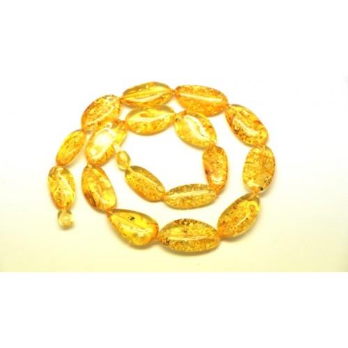 Big beads lemon color Baltic amber short necklace