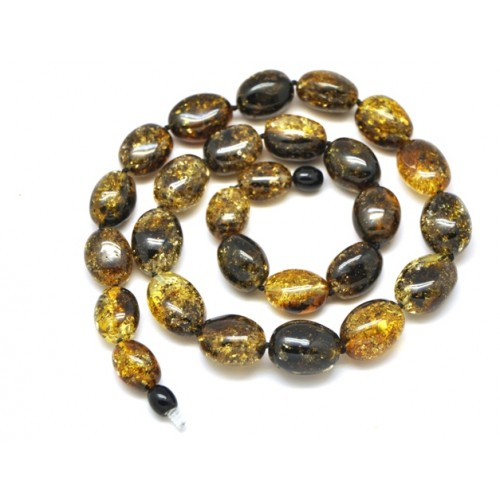Green olive shape Baltic amber necklace