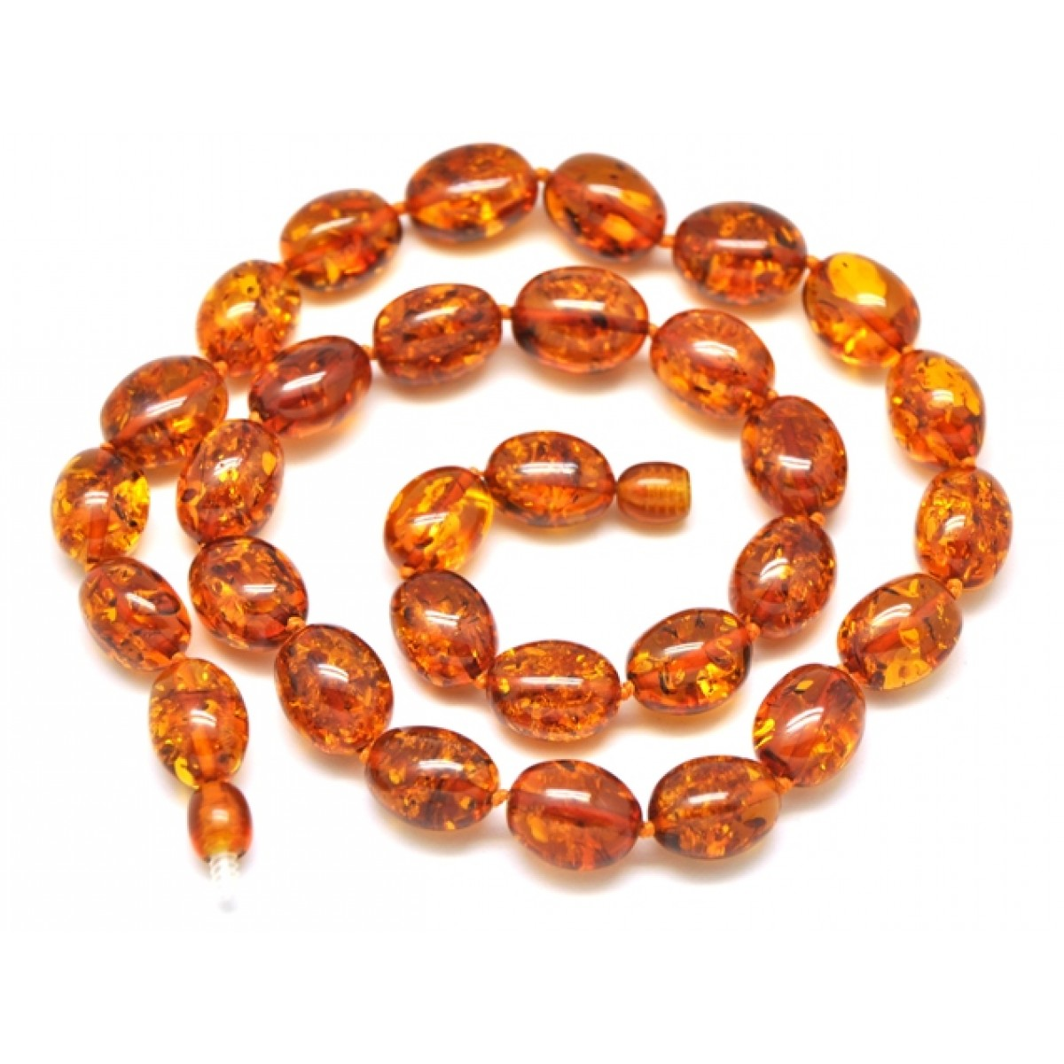 Olive Garden With Amberstone: Cognac Olive Shape Baltic Amber Necklace - 149.80€