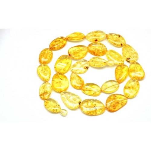 Big beads lemon Baltic amber long necklace