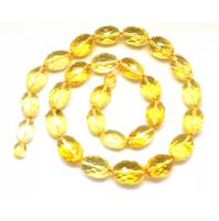 Faceted olive shape Baltic amber necklace