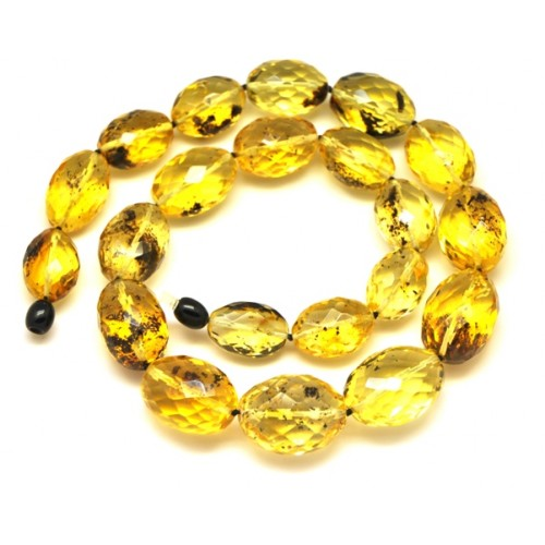 Amazing faceted olive shape Baltic amber necklace