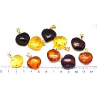Lot of 10  Baltic amber heart shape pendants
