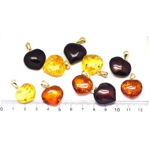 Lot of 10  Baltic amber heart shape pendants