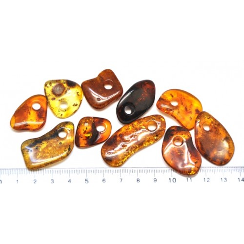 10  Baltic amber pendants with hole
