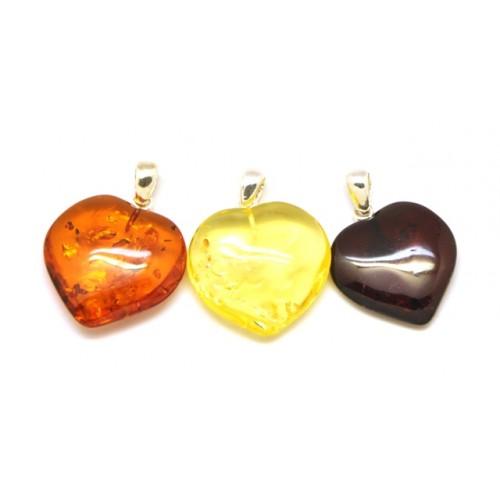 Lot of 3  Baltic amber  heart shape pendants