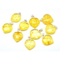 Lot of 10 lemon Baltic amber heart pendants