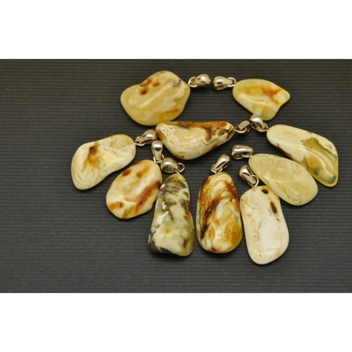 White color 10 free form Baltic amber pendants