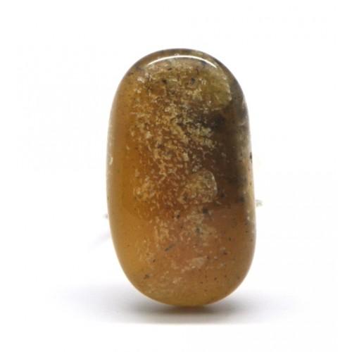 Green Baltic amber ring