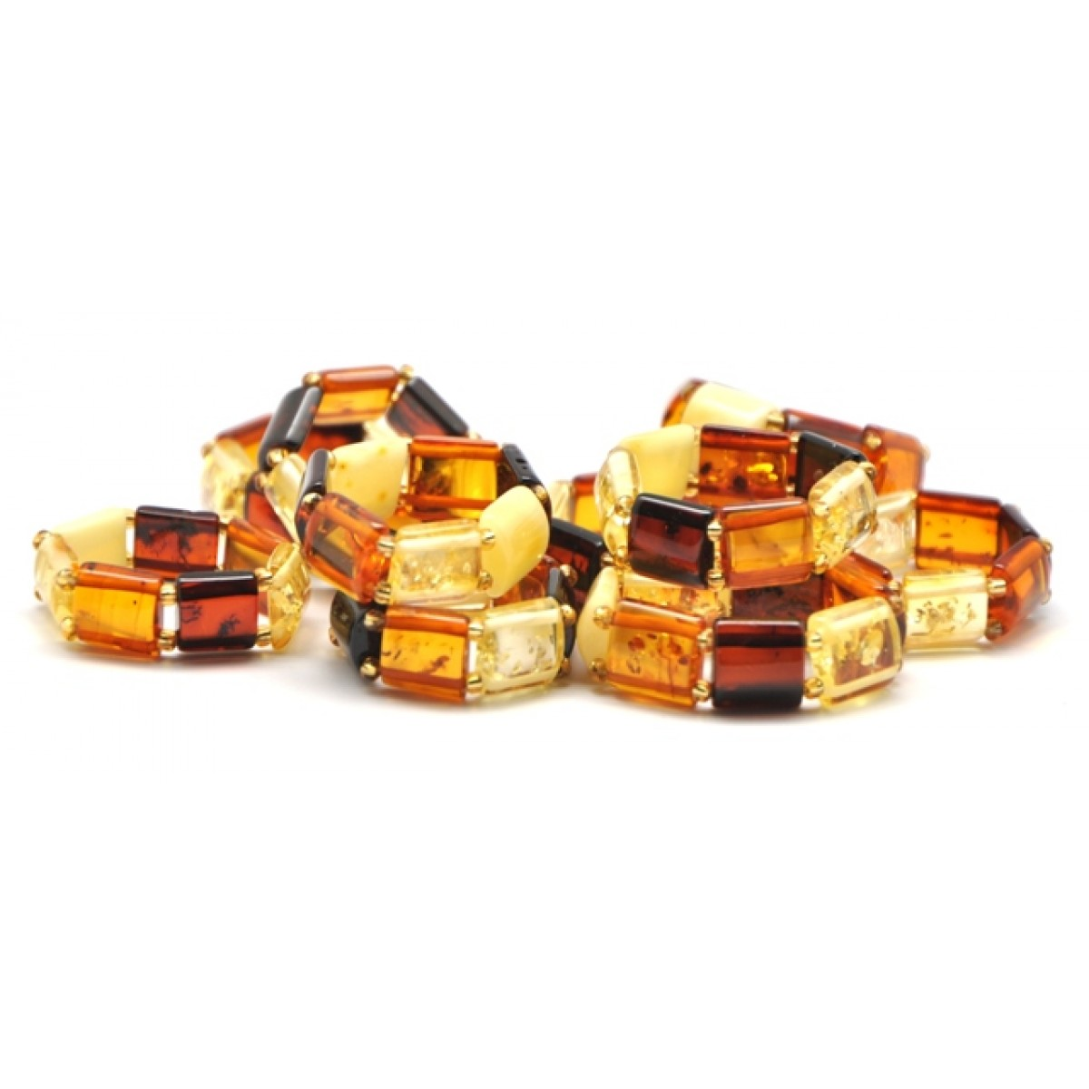 Lot of 10 multicolor Baltic amber elastic rings