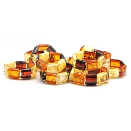 Lot of 10 multicolor Baltic amber elastic rings