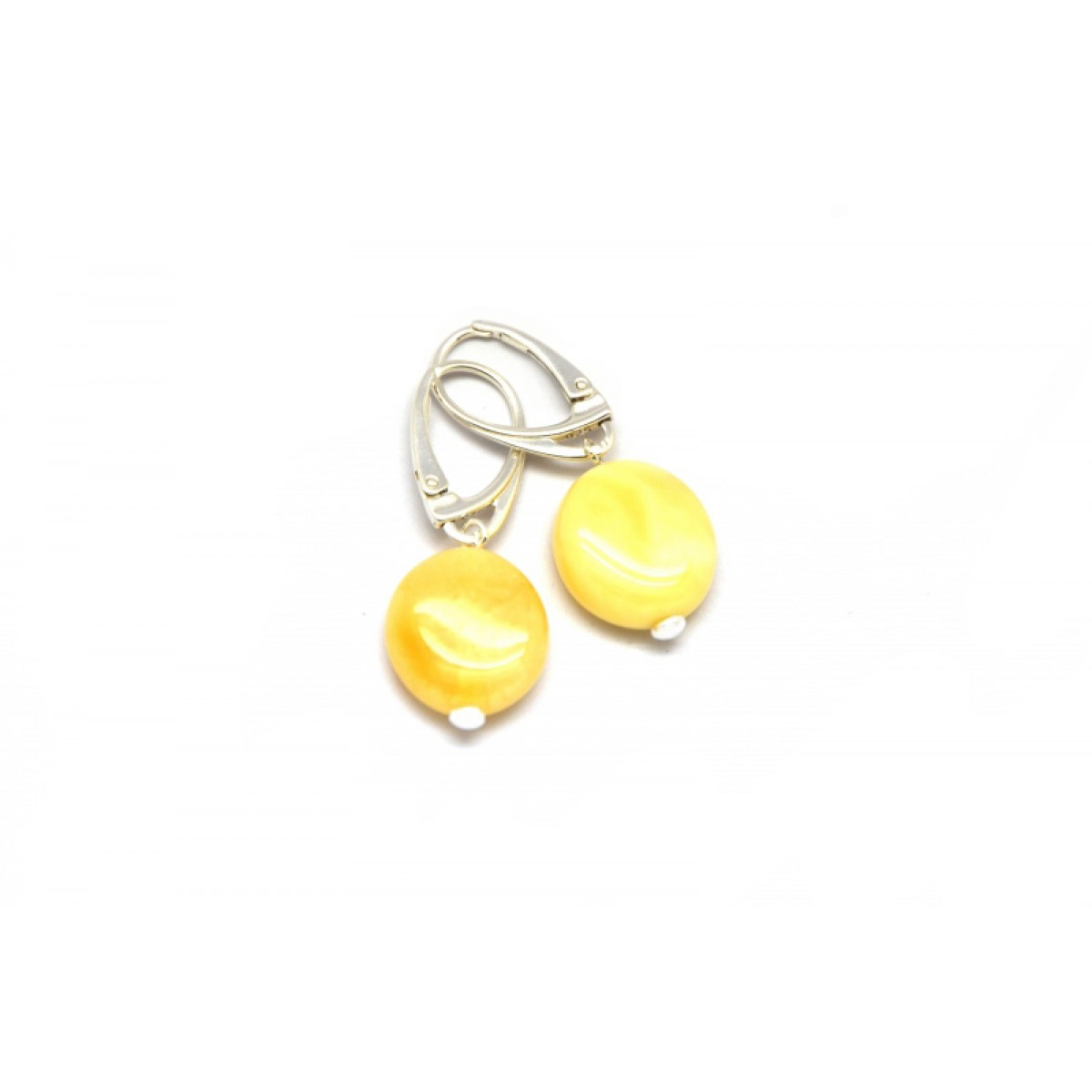 Round button shape yellow Baltic amber earrings