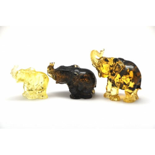 Lot of 3 Baltic amber figures of elephants