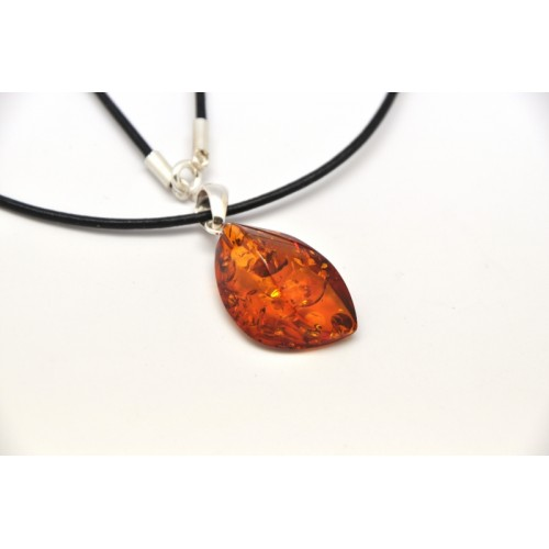 Cognac Baltic amber pendant with leather