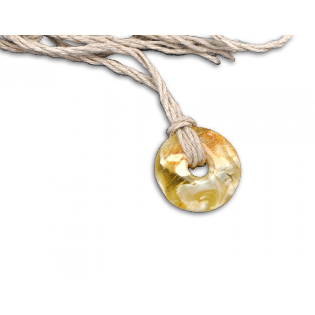 Beautiful Baltic amber amulet with linen thread