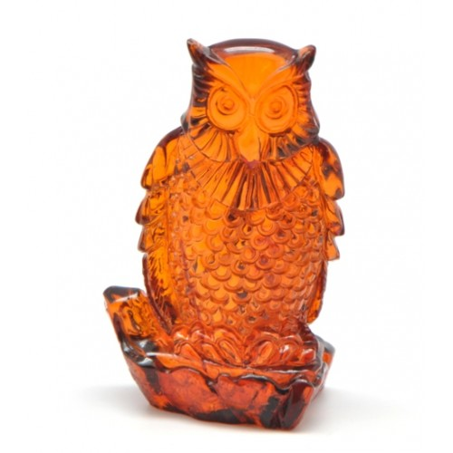 Cognac hand carved Baltic amber figurine of owl