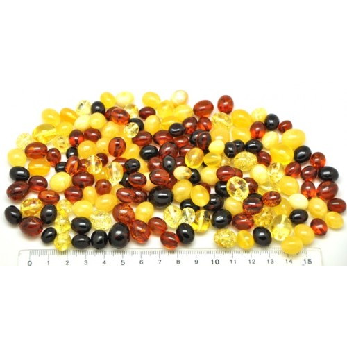 Loose drilled Baltic amber olive shape beads 100g